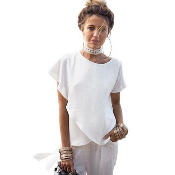 Women's White Chiffon Layered Top