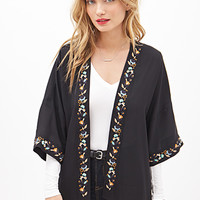 LOVE 21 Floral-Embroidered Kimono Black/Charcoal