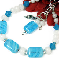 Ocean Inspired Blue Glass Bracelet, Adjustable, White Quartz, Seashell Charm, Handmade