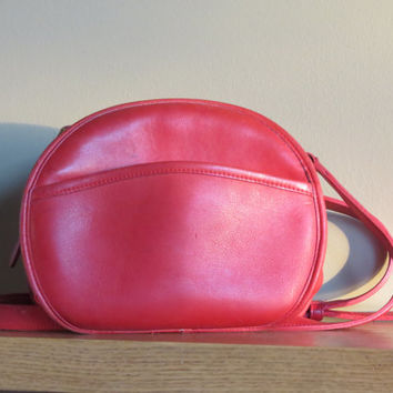 Vintage Coach Candy Apple Red Leatherware Round Cross Body Chester aka Canteen Bag 1142-320- Made in U.S.A. early 1990's