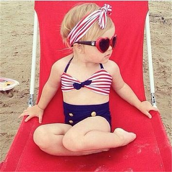 2018 Summer 4th Of July Red White & Navy Three Piece Swimsuit
