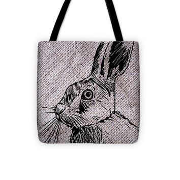 Hare On Burlap - Tote Bag