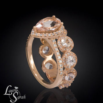 Pear Engagement Ring, Pear Morganite Ring, Diamond Halo Engagement Ring, Diamond Halo Ring, Rose Gold Jewelry - LS3594