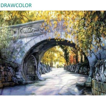 DRAWCOLOR Frame Arch Bridge DIY Painting By Numbers Hand Painted On Canvas Drawing By Numbers Landscape Wall Art Picture 40x50cm