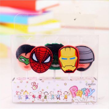 5pcs/lot Avengers Birthday Candles Party Supplies Kids Evening Party Decorations Set Birthday Party Cake Avengers Candles Favors