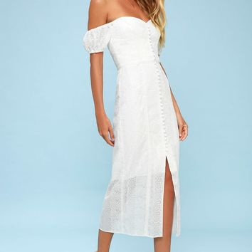 Maella White Embroidered Button-Up Off-the-Shoulder Midi Dress