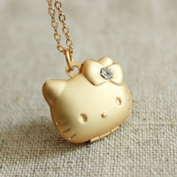 matte gold  dainty Kawaii  hello kitty   cat   necklace