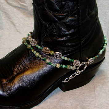 Boot Bracelet of Turquoise and Silver Celtic Beads