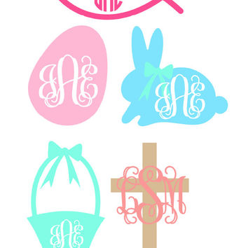 Monogrammed Easter Decal Choose any design and colors