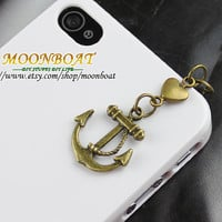 Dust Proof Plug-3.5mm Retro Bronze Anchor For iphone 4s,iPhone 4,iPhone 3gs,iPod Touch 4,HTC,Nokai,Samsung,Sony MB637