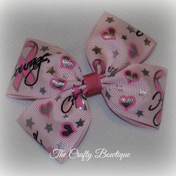 Breast Cancer ~ Boutique Hair Bow ~ Pink Ribbon ~ Courage Hope Love ~ Pony Tail Bow ~ Head Band Bow ~ Big Hair Bow ~ Cancer Hair Bow