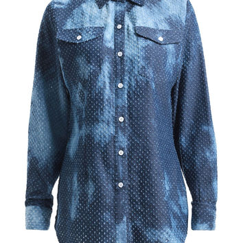 Denim Blue Distressed Design Long Sleeve Denim Shirt
