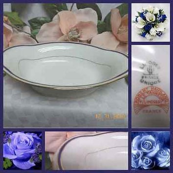 Robert Haviland Limoges China Dinnerware Cobalt Blue Band Oval serving dish