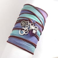Hand Dyed Silk Wrap Bracelet with Silver Om by charmeddesign1012