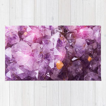 Purple Amethyst Crystal Rug, Purple Nursery Rug, Purple Area Rug, Purple Dorm Rug, Violet Purple Area Rug, Polyester Rug, Purple Decor