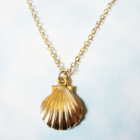 Gold Plated Seashell Necklace, Mermaid Necklace