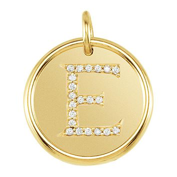 1/10 Ctw G-H, I1 Diamond initial 17mm 14k Yellow Gold Pendant Letter E
