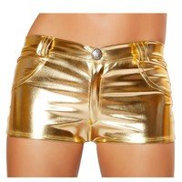 Gold Metallic Hot Pant Shorts : Metallic Hologram Rave Shorts