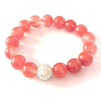 Strawberry Quartz And Swarovski Crystal Shamballa Bracelet-Stretch