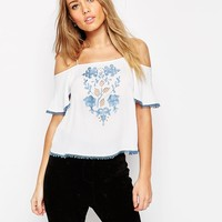ASOS Cold Shoulder Cami With Vintage Contrast Embroidery at asos.com
