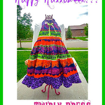 Happy Halloween twirly Halter Party Pageant Dress  4 4T 5 6