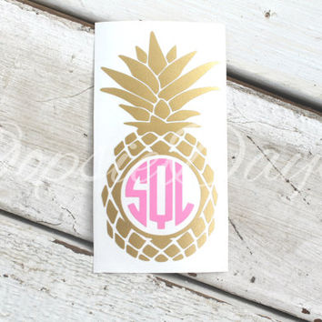Pineapple Monogram Decal Preppy Southern Monogram Decal Sticker Car Decal Laptop Phone Custom Decal Water Bottle Sticker Vinyl Decal