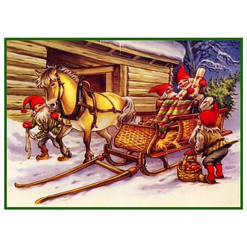 Elves Pack Christmas Horse Drawn Sleigh Jenny Nystrom  Holiday Christmas Counted Cross Stitch Pattern