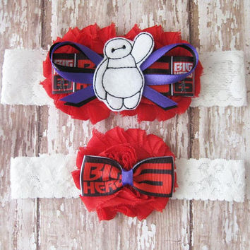 Big Hero 6 Garter Set | Baymax Wedding Garters | Bridal Garter and Toss Garter