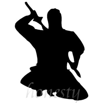 Ninja Fight Assassin Wall Home Glass Window Door Car Sticker Auto Truck Laptop Black Vinyl Decal Sticker Gift 13.5cmX10.4cm