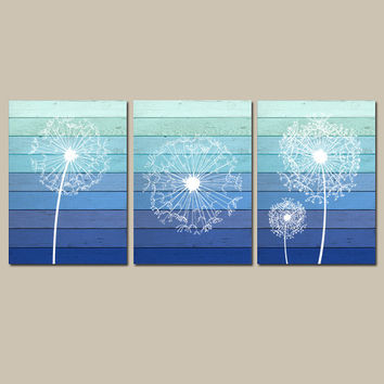 DANDELION Wall Art Canvas or Prints OMBRE Wood Effect Blue Bathroom Wall Art Bedroom Pictures Flower Wall Art Dandelion Set of 3 Home Decor