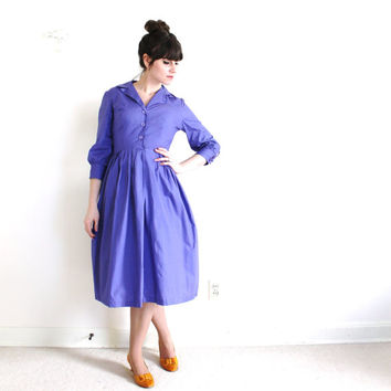50s Dress / 1950s 1960s Dress / 1950s Full Skirt Purple Dress