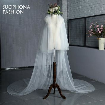 New Arrival White Ivory Cheap Bridal veil Long Cathedral with Comb  Two Layer Cut Edge Weddings Accessories Voile de Mariage