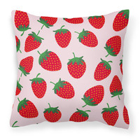 Strawberries on Pink Fabric Decorative Pillow BB5146PW1818