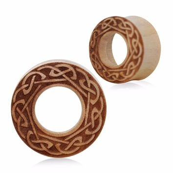 Organic Crocodile Wood Celtic Design Engraved Tunnel Plug