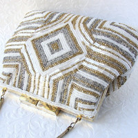 Vintage La Regale Beaded Purse Silver Gold White Glass Bead Handbag Geometric Design Long Strap Formal Evening Bag Wedding Bridal Formal