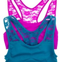2 Pack: Lace Racerback Comfort Sports Bra (Small/Medium, Deep Teal/Currant)