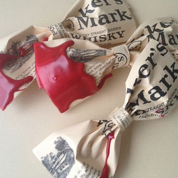 Makers Mark Bow Tie up-cycled from Makers Mark bourbon bottle labels- Made to Order