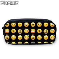 2017 VEEVANV Women Pencil Bags Girls Cosmetic Cases Printing Small Pencil Cases Smiley Emoji Face Kids Children School Supplies