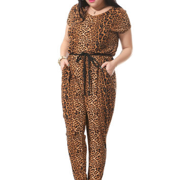 Plus Size Leopard Print Jumpsuits For Women With Sashes Sexy V-neck Jumpsuit Summer Loose Cotton Jumpsuit Playsuits 3xl-7xl 004