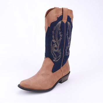 Western Cowboy Leather Boots Shoes Women Horse 50%OFF