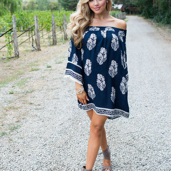 She's Got a Way With Words Navy Floral Dress