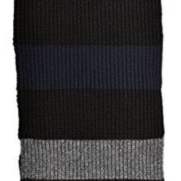 Givenchy extra long black, navy and gray vertically striped thick knit long scarf 50% wool + other blend