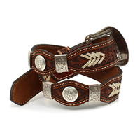 Nocona Belt Co. Boys' Rawhide Scalloped Lacing Conchos Western Belt