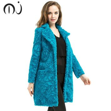 Stylish Blue Curly Long Hairy Shaggy Faux Lamb Wool Fur Coat 2017 Winter Women Lapel Faux Fur Jackets Loose Mid Long Outerwear