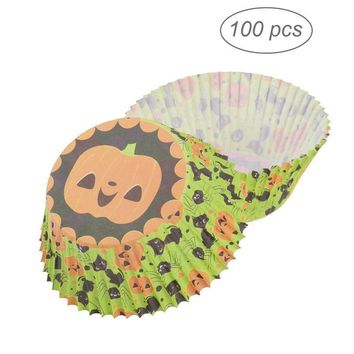 100pcs Halloween Cupcake Wrappers Liners Pumpkin Muffin Cases Party Favors Cake Cup Cupcake Cups