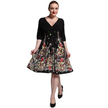 Graceful Plunging Neck Half Sleeve High Waist Floral Dress
