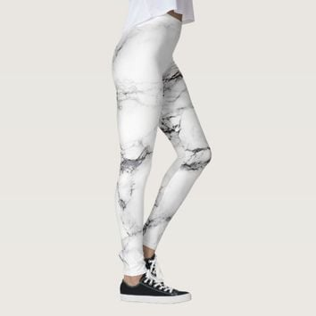 white and black marble stone leggings