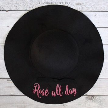 Rosé All Day // Floppy Hat - Wine Tasting Hat - Black Hat - Wine Lover Gift - Birthday Gift