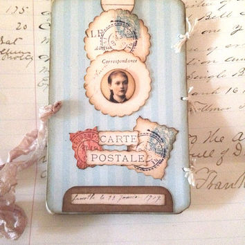 Art Assemblage Tag Mini Shadow Box,Paris OOAK Gift Journal, Vintage Cottage Chic, Soft Aqua Vintage photo Young Girl, Christmas ornament