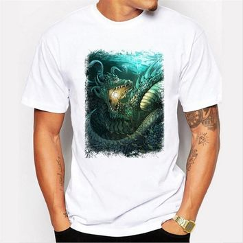 Newest  men's fashion short sleeve t-shirt dragon printed tee shirts Hipster O-neck cool tops